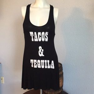 Tacos & Tequila long racer back tank top